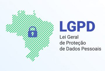 LGPD - the Lei Geral de Prote o de Dados Pessoais - Portuguese. English - General Personal Data Protection Law. Vector background with lock and map of Brazil